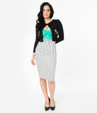 Retro Style White & Black Polka Dot Pencil Skirt