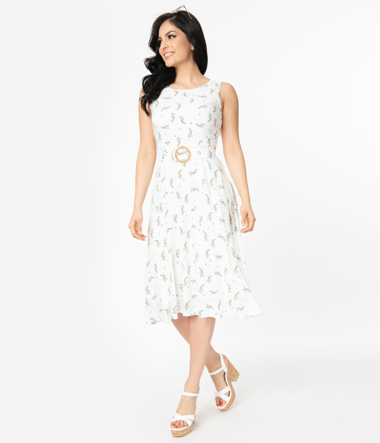 Ivory Floral Sleeveless Belted Dress
