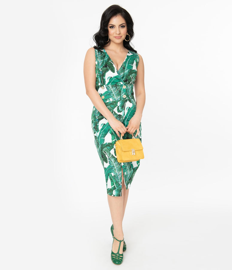 White & Green Palms Sleeveless Midi Dress