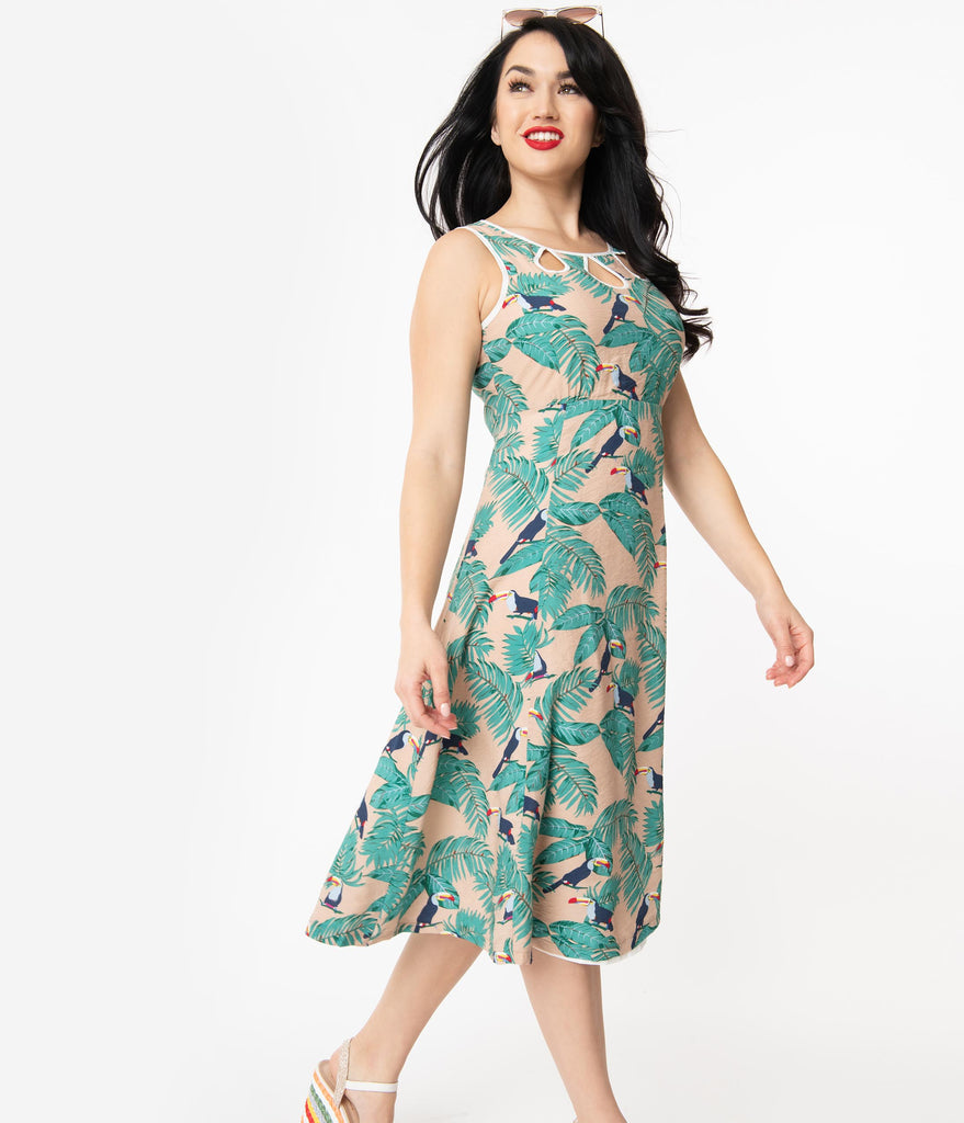 Tan Palm & Toucan Print Sleeveless Dress