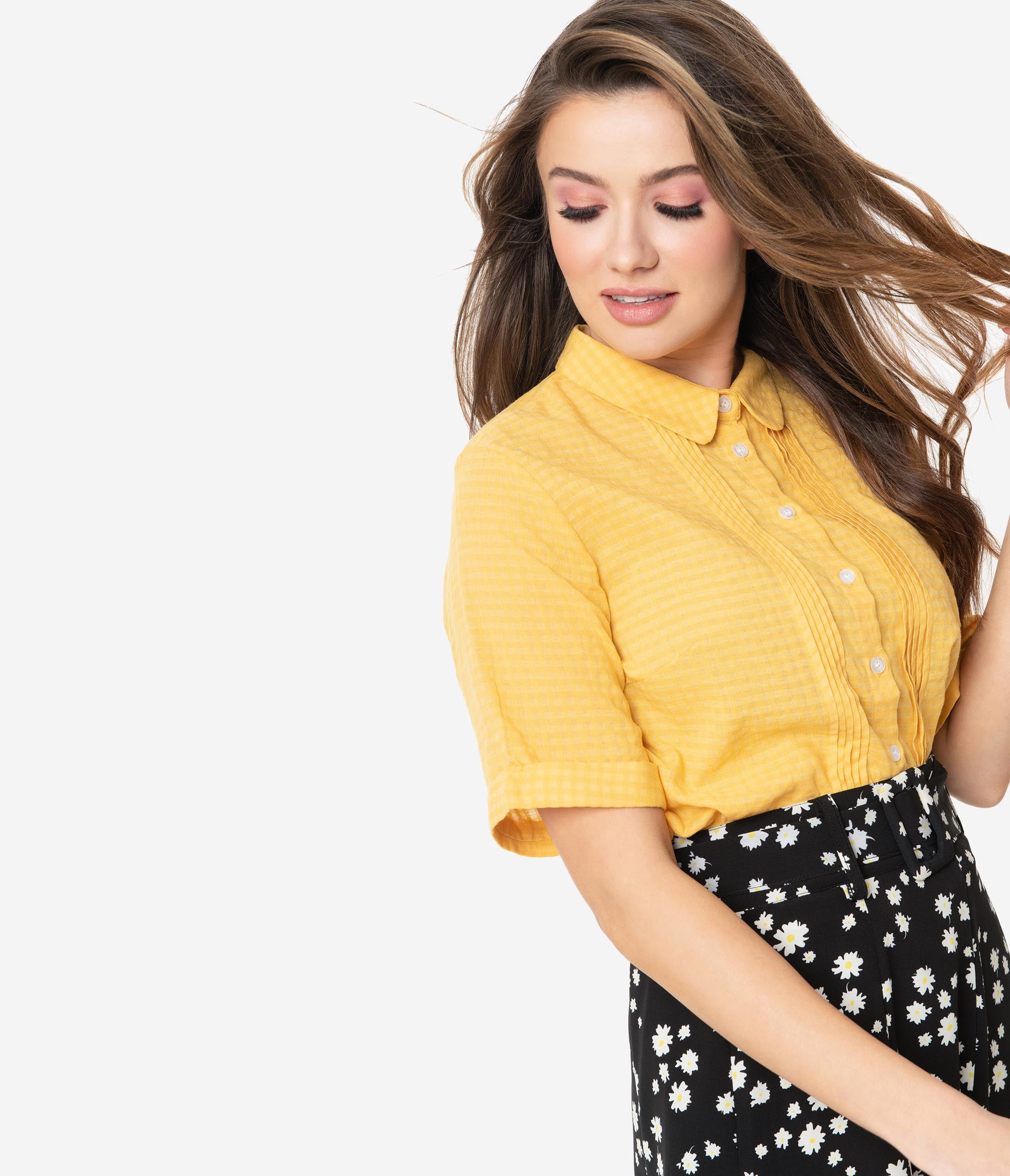Vintage Tops & Retro Shirts, Halter Tops, Blouses Retro Style Mustard Yellow Gingham Button Up Blouse $46.00 AT vintagedancer.com