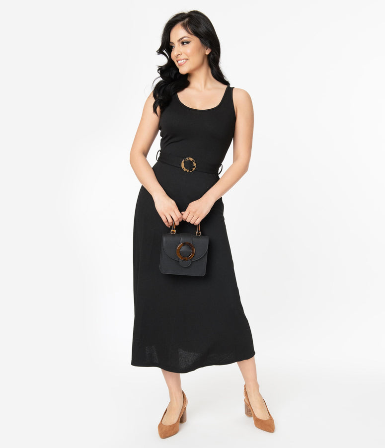 1970s Style Black Sleeveless Belted Midi Dress