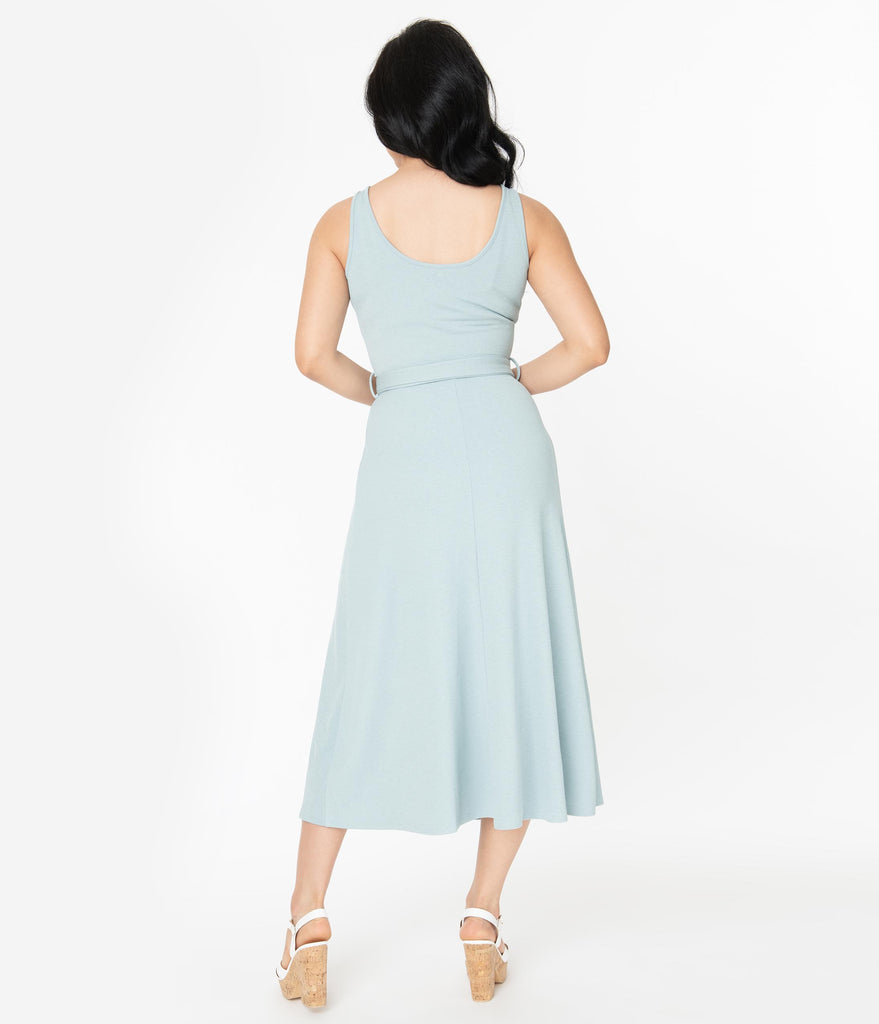 1970s Style Light Blue Sleeveless Belted Midi Dress