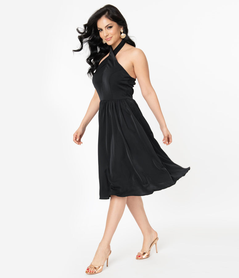 Retro Style Black Halter Swing Dress