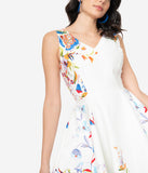 Ivory Double Border Floral Print Swing Dress