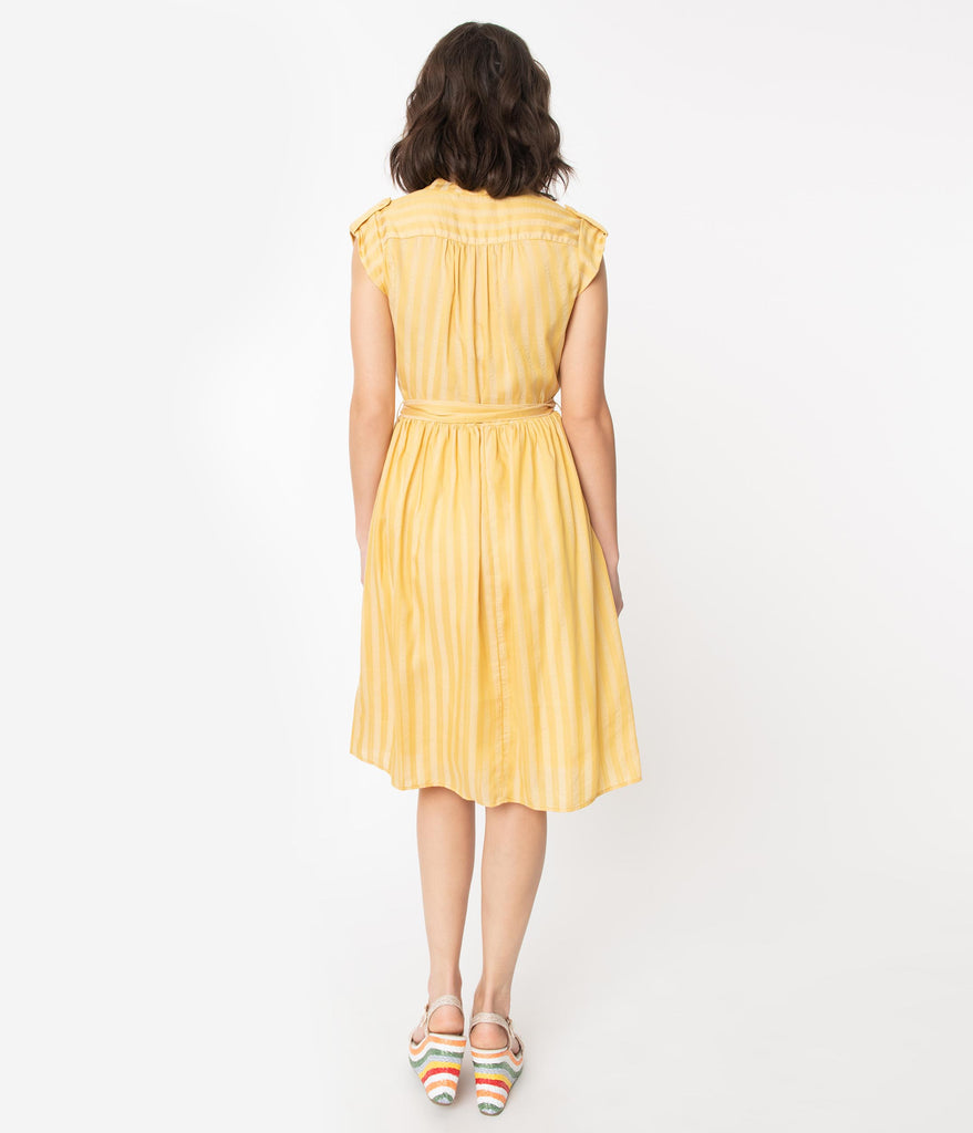 Retro Style Mustard Stripe A-Line Dress