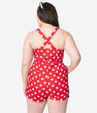 Plus Size Retro Style Red & White Polka Dot Romper