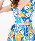 Emily & Fin 1940s Blue Asilah Floral Florence Swing Dress