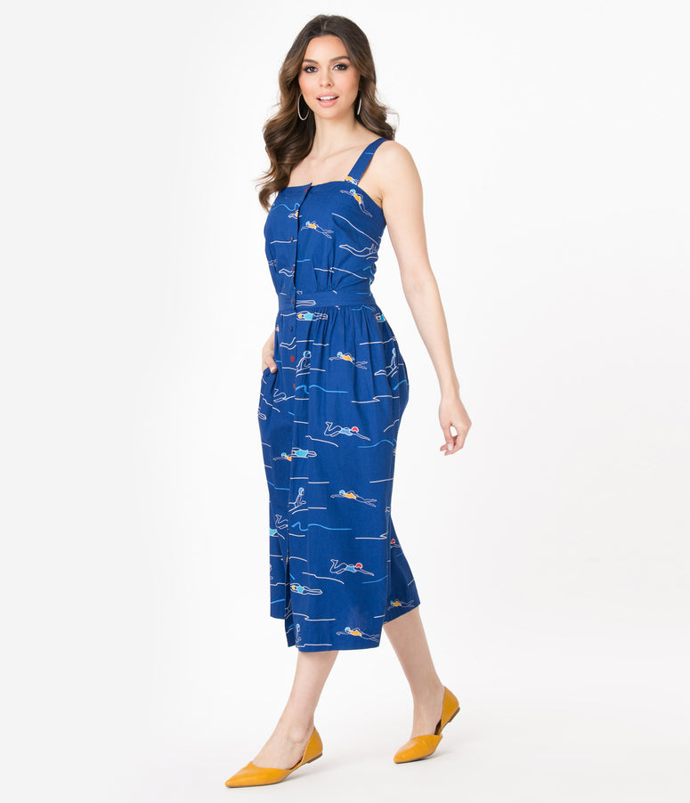 Emily & Fin Blue Divers Print Liana Sundress