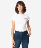 Dickies White Knit Logo Crop Top