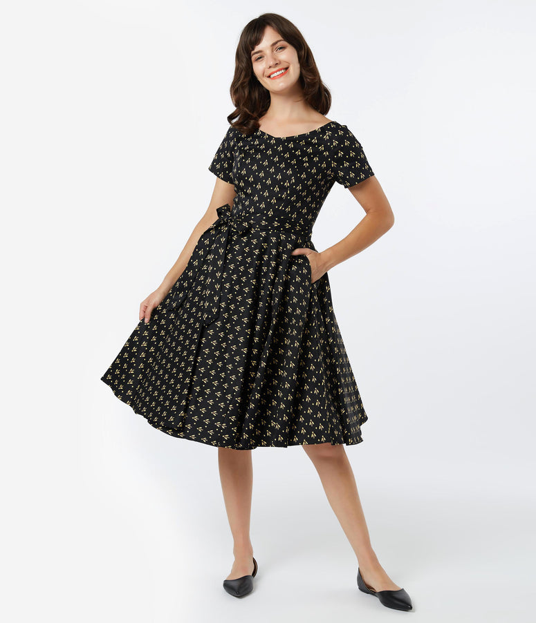 1950s Style Black & Yellow Bee Print Bella Swing Dress