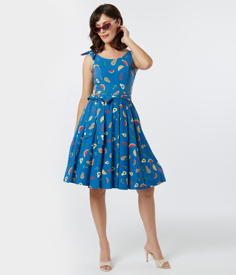 Retro Style Blue Fruit Print Bri Swing Dress