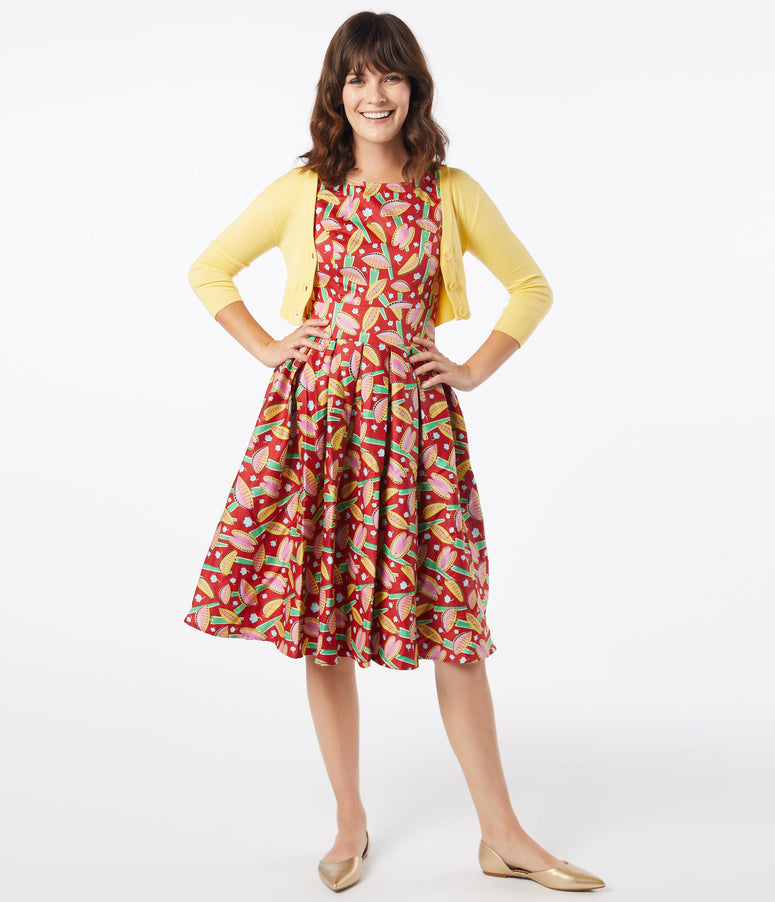 1950s Style Venus Fly Trap Print Lilly Swing Dress