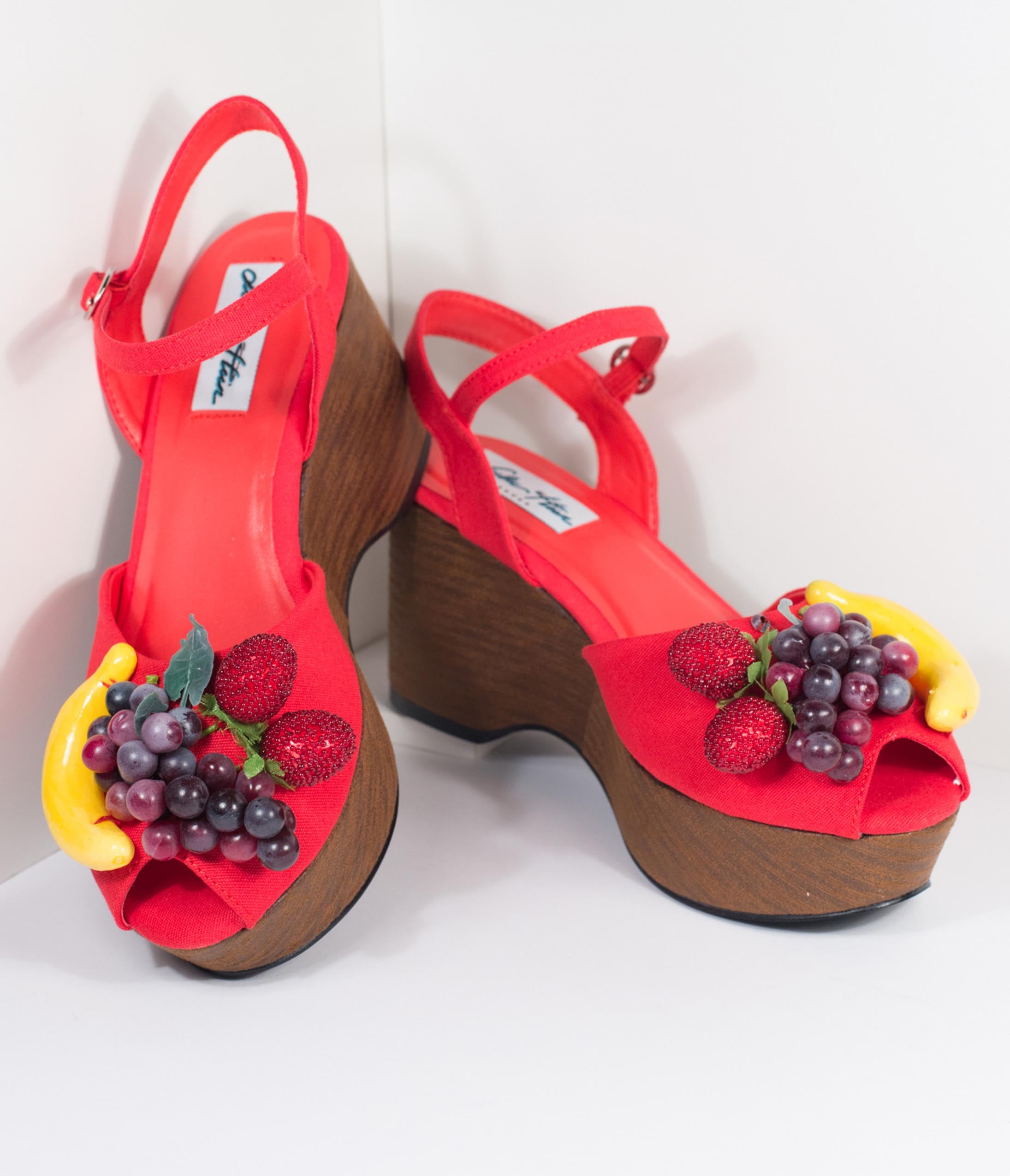 Rockabilly Shoes- Heels, Pumps, Boots, Flats Lulu Hun Red Fruit Peep Toe Kellie Wedges $82.00 AT vintagedancer.com