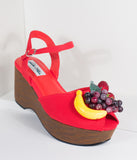 Lulu Hun Red Fruit Peep Toe Kellie Wedges