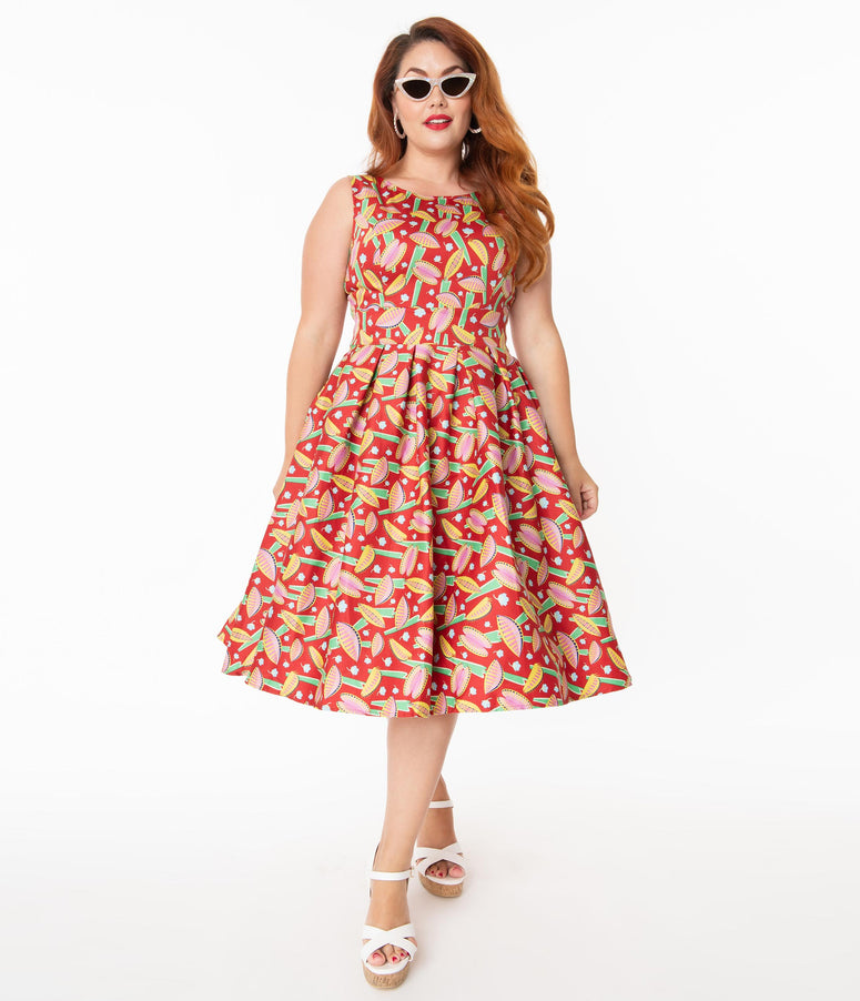 Plus Size 1950s Style Venus Fly Trap Print Lilly Swing Dress