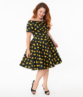 Plus Size Vintage Pocketed Back Zipper Fitted Swing-Skirt Short Sleeves Sleeves Off the Shoulder General Print Cotton Dress