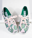 Lulu Hun Pink & Green Jungle Print Grace Sneakers