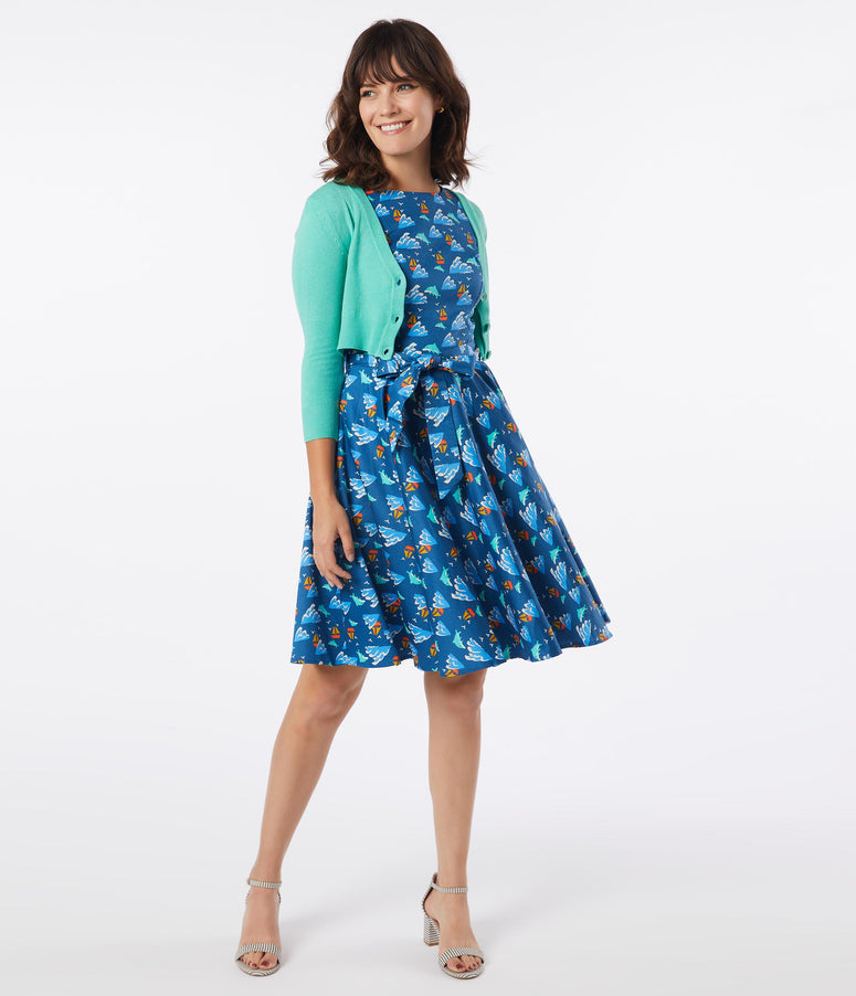 Retro Blue Dolphin Print Ruby Swing Dress