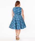 Plus Size Retro Blue Dolphin Print Ruby Swing Dress