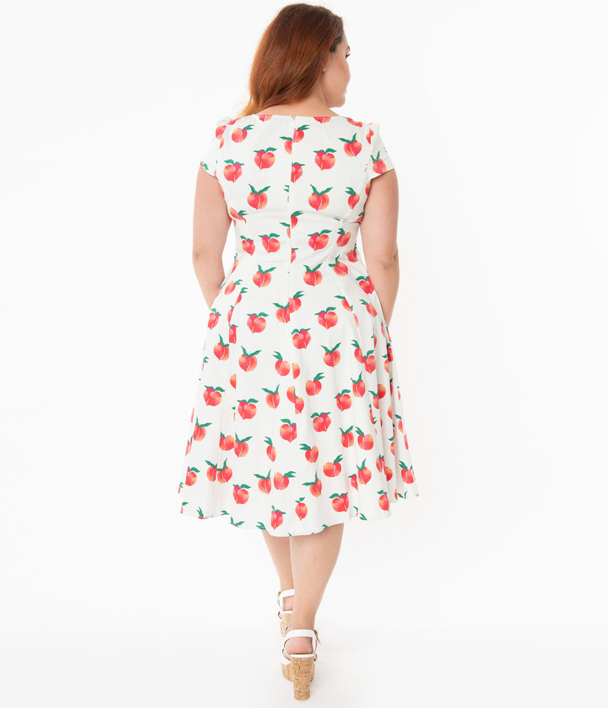 Plus Size Vintage Style Ivory Peach Print Jade Swing Dress