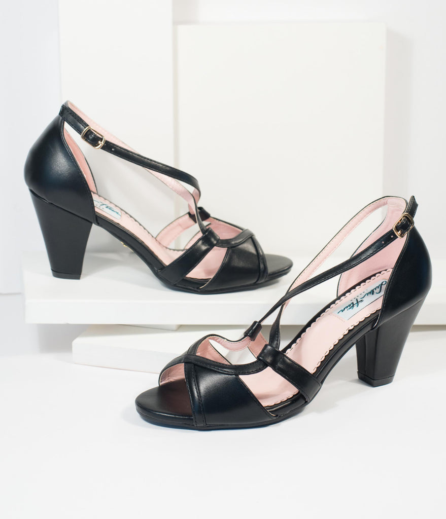 Lulu Hun Black Leatherette Peep Toe Savannah High Heel