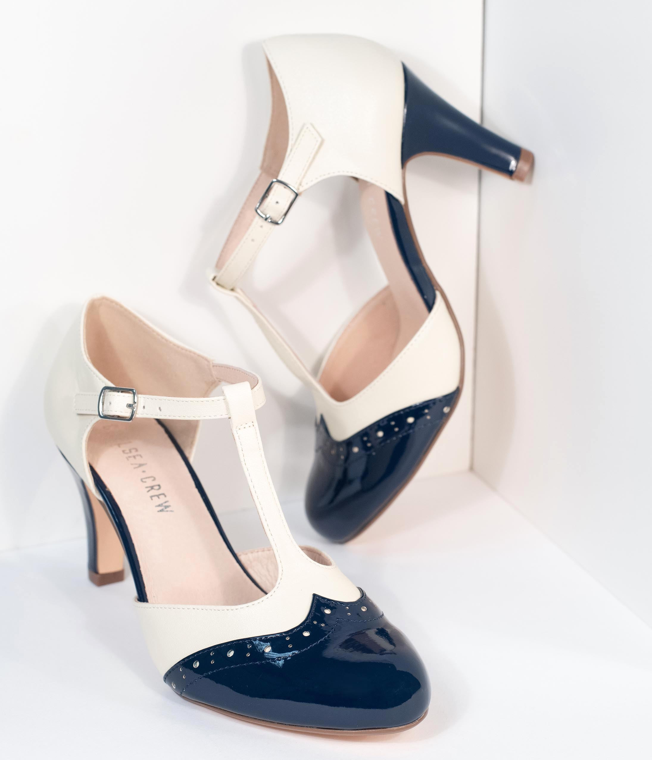 1930s Shoes History Chelsea Crew Navy  White Gatsby T-Strap Pumps $74.00 AT vintagedancer.com