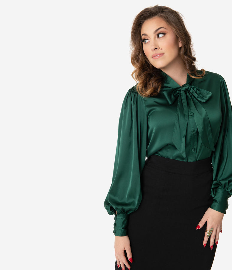 Unique Vintage Emerald Satin Neck Tie Gwen Blouse