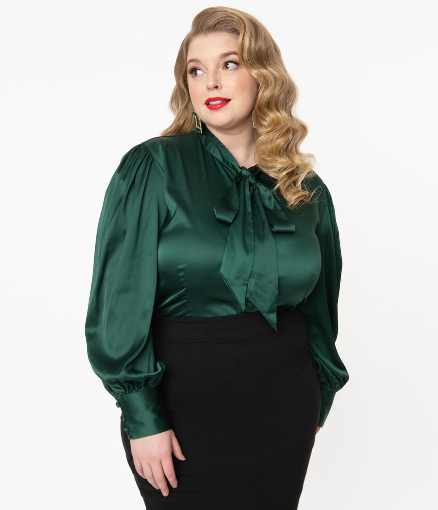 Unique Vintage Plus Size Emerald Satin Neck Tie Gwen Blouse