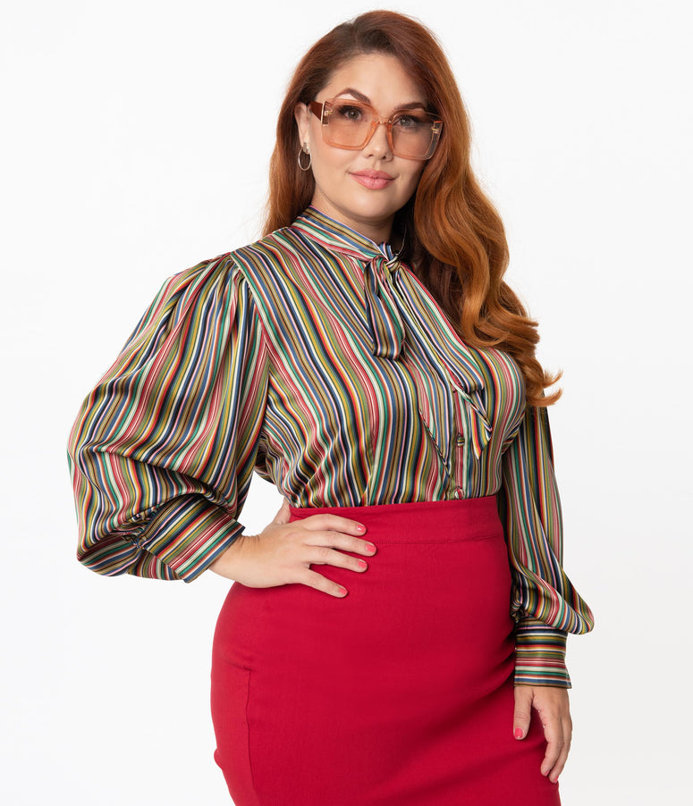 Unique Vintage Plus Size Multicolor Stripe Satin Gwen Blouse