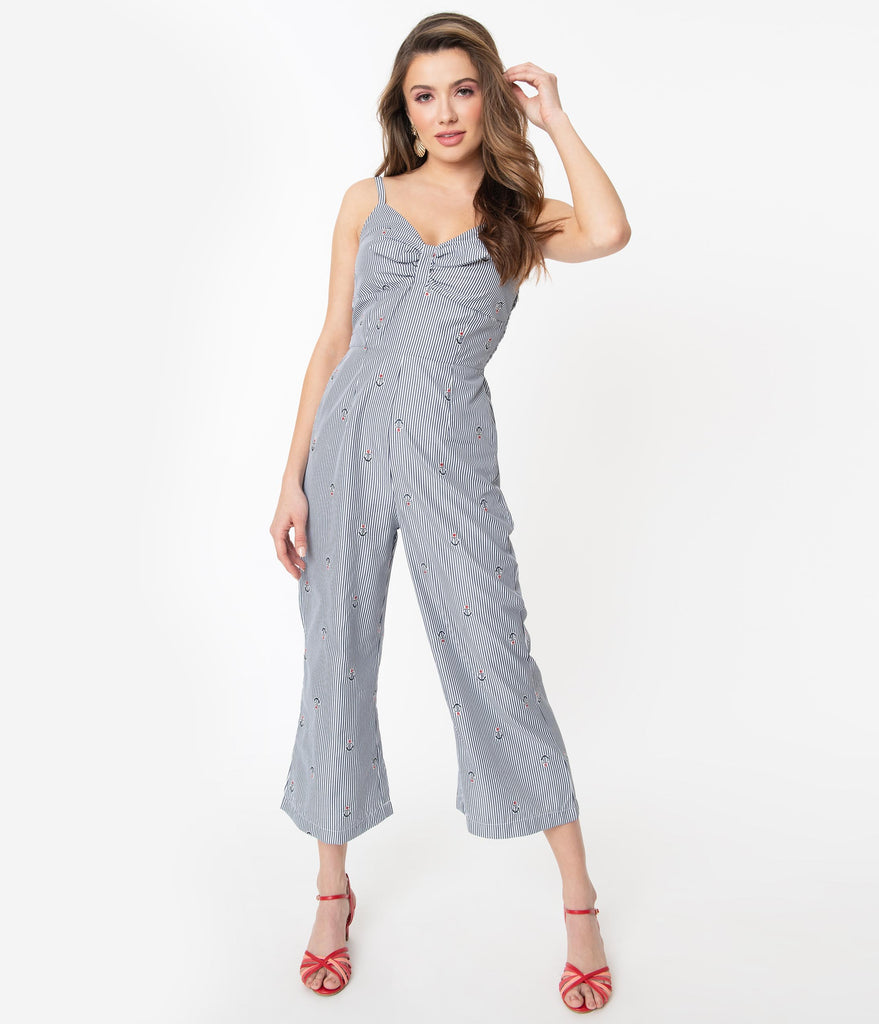Voodoo Vixen Navy & White Pinstripe with Anchor Print Andy Jumpsuit