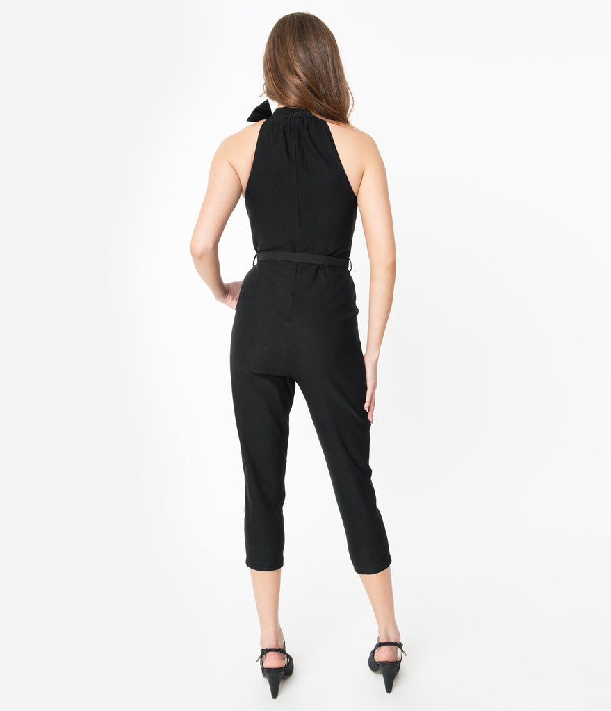Voodoo Vixen Black High Neck Belted Jumpsuit