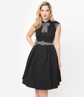 Belted Pocketed Back Zipper Self Tie Vintage Swing-Skirt Striped Print Collared Dress With a Bow(s)