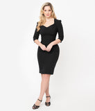 Voodoo Vixen Black Three Quarter Sleeve Camilla Pencil Dress