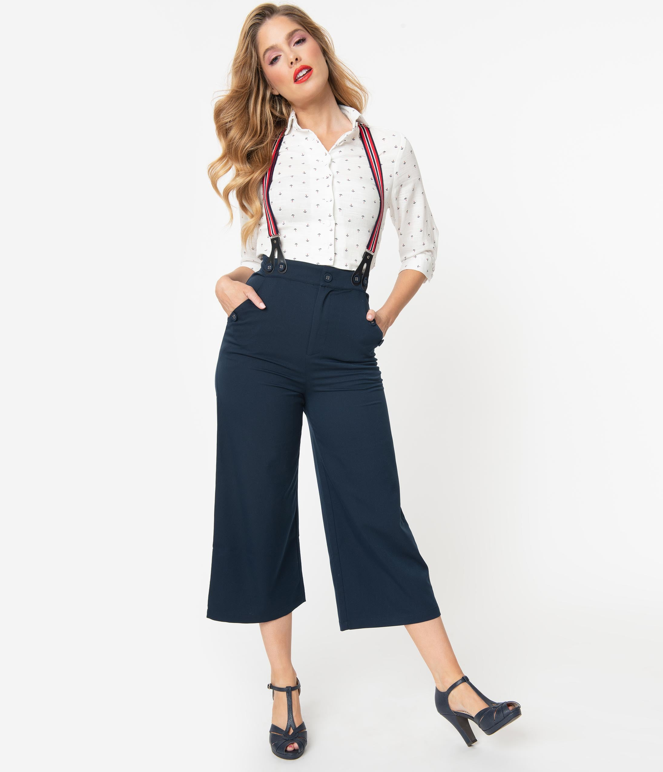 1950s Pants & Jeans- High Waist, Wide Leg, Capri, Pedal Pushers Voodoo Vixen Navy Blue High Waist Culottes With Suspenders $62.00 AT vintagedancer.com