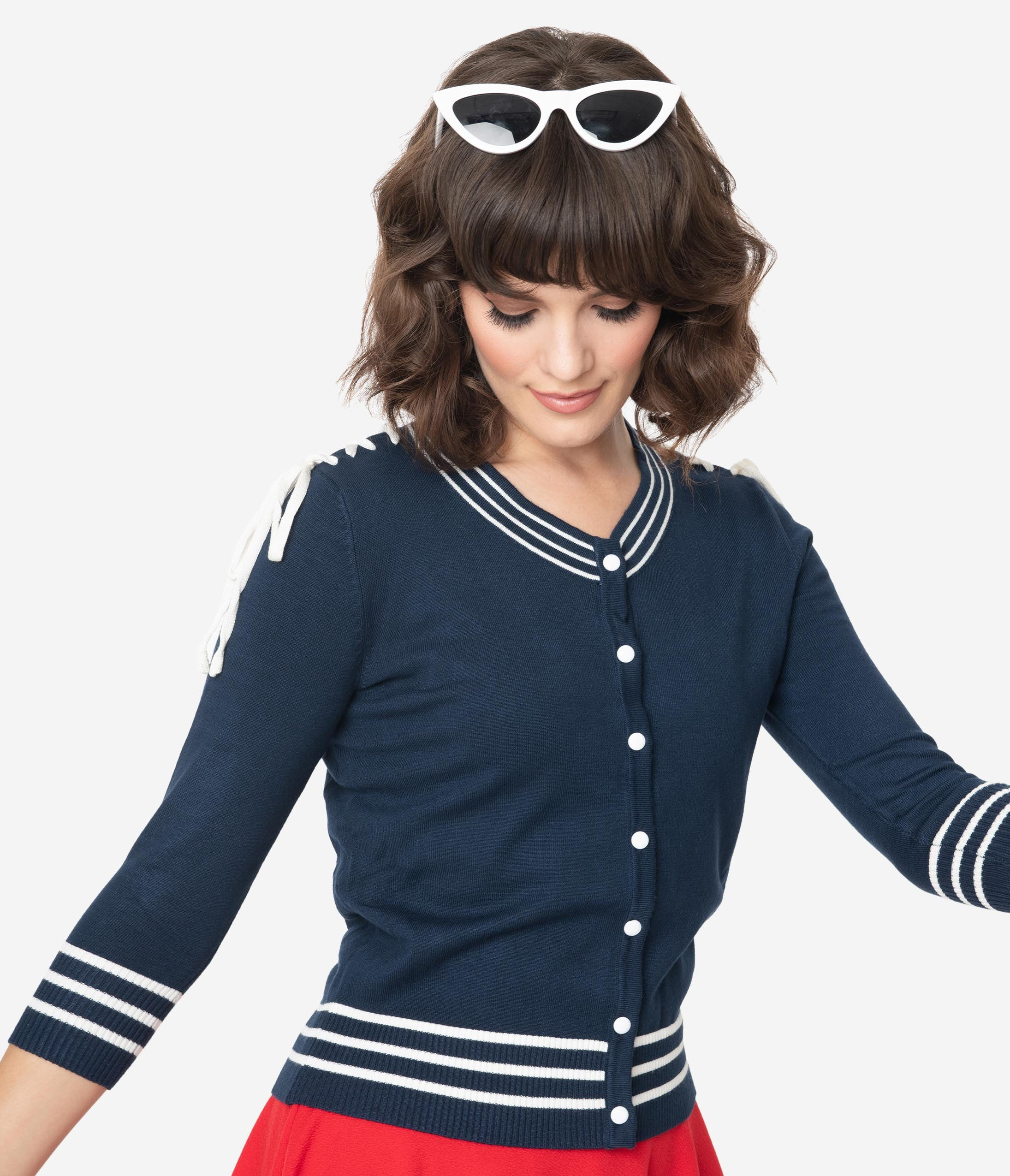 Vintage Sweaters, Retro Sweaters & Cardigan Ladies Voodoo Vixen Navy Nautical Sail Away Anchor Cardigan $52.00 AT vintagedancer.com