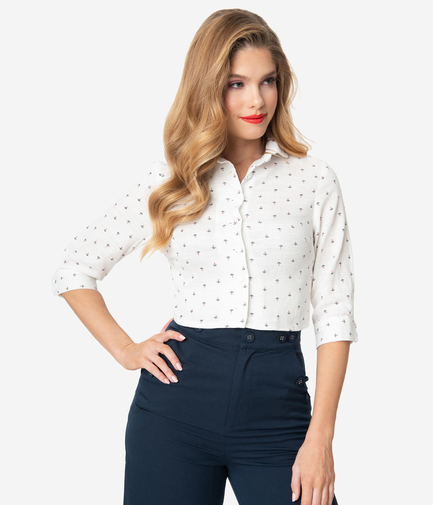 Voodoo Vixen Ivory & Anchor Print Button Up Top