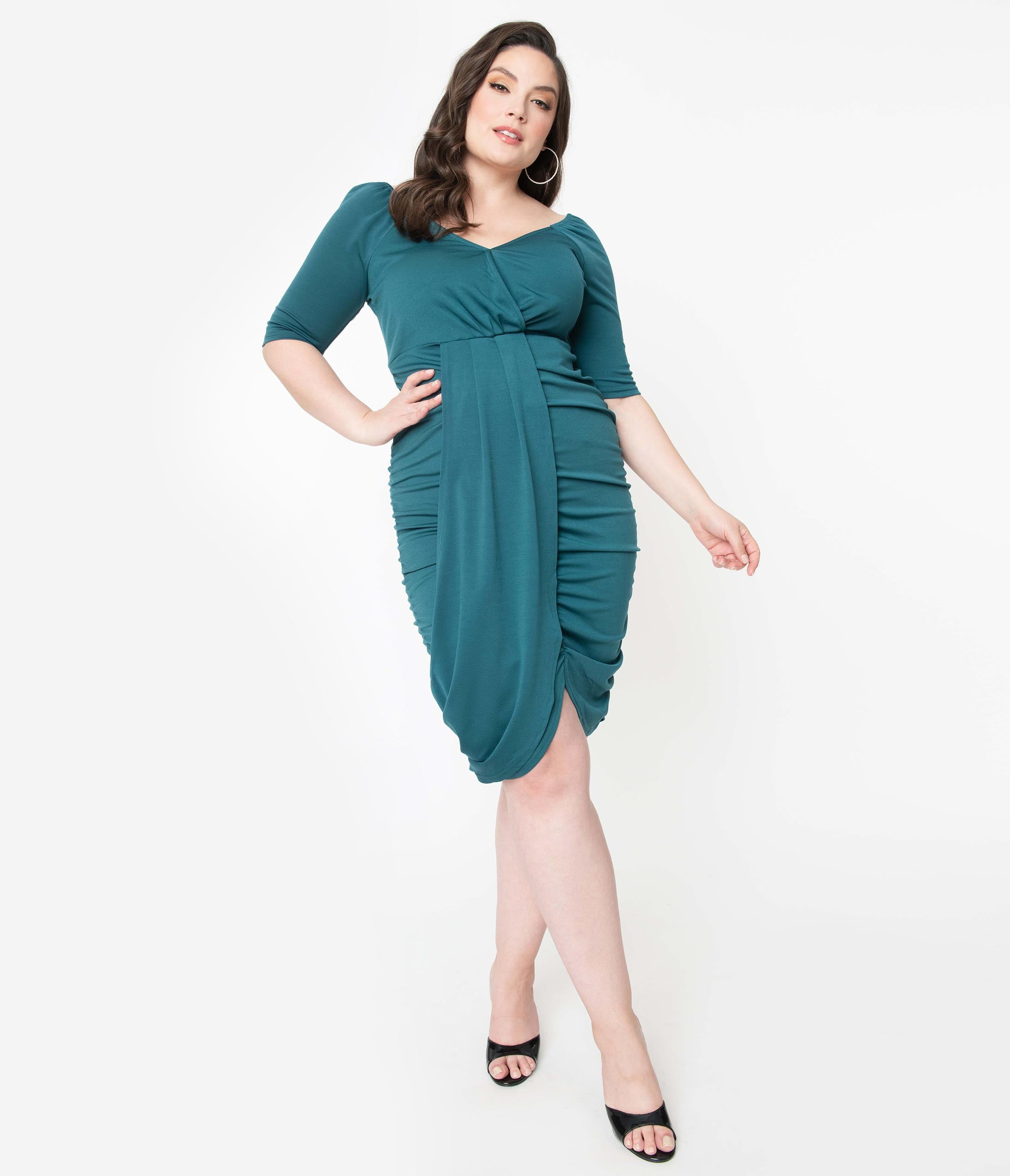 80s Dresses | Casual to Party Dresses Voodoo Vixen Plus Size 1970S Teal Green Georgina Bodycon Dress $78.00 AT vintagedancer.com