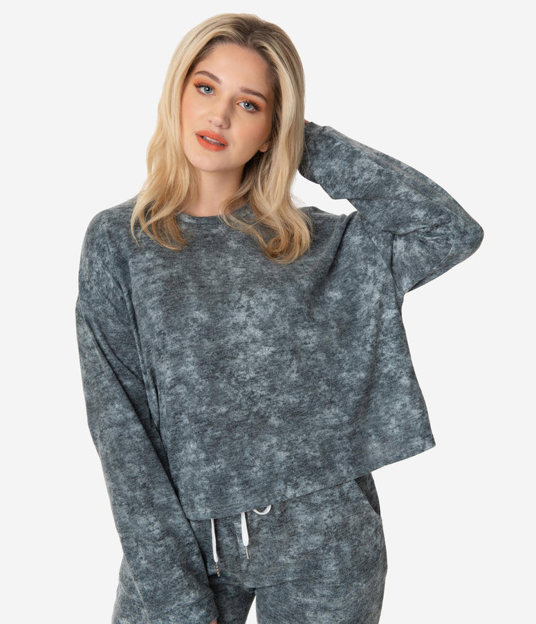 Plus Size Charcoal Grey Fleece Pullover Sweatshirt