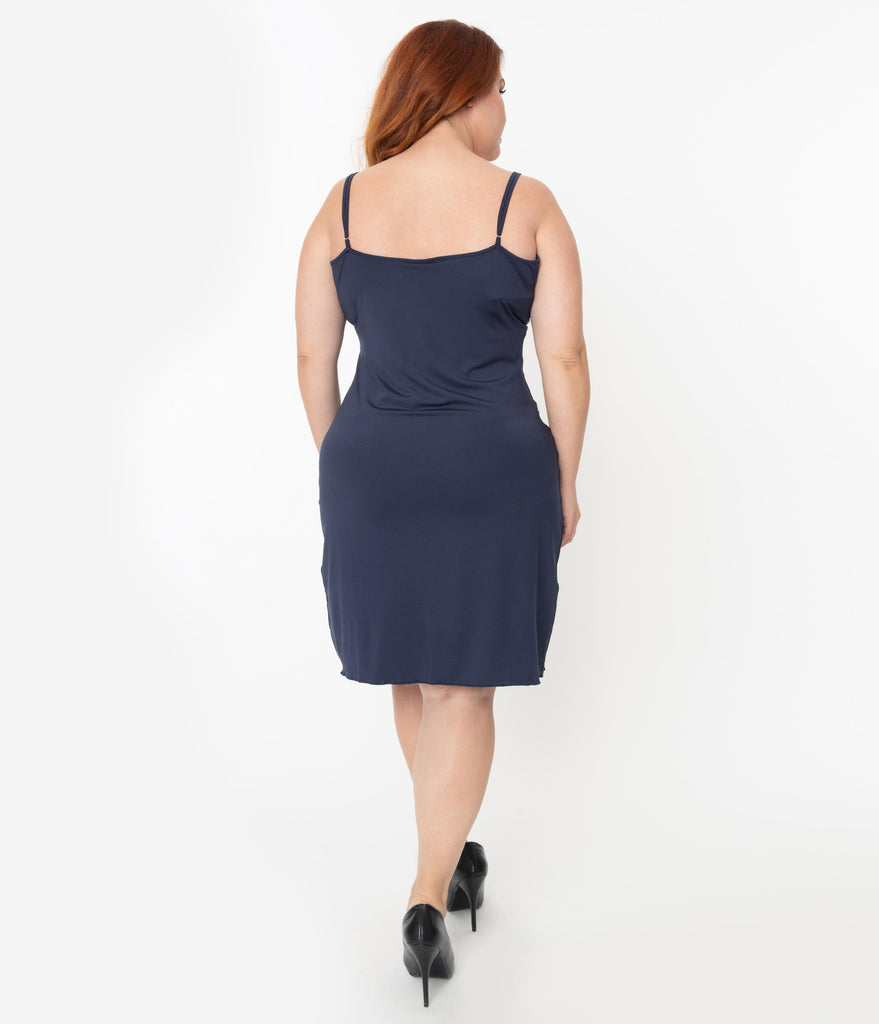 Unique Vintage Plus Size Navy Blue Long Slip