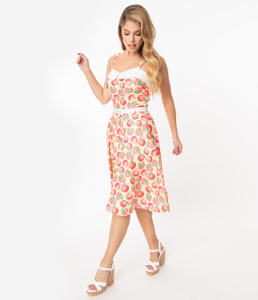 Unique Vintage Peaches & Cream Print Rachel Swing Dress