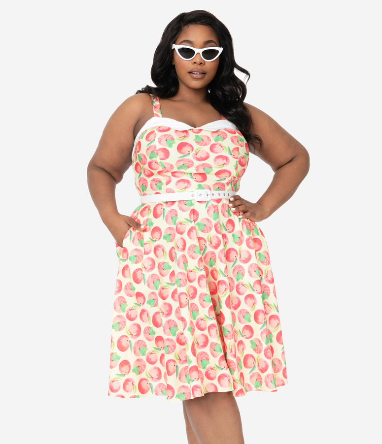 Unique Vintage Plus Size Peaches & Cream Print Rachel Swing Dress
