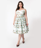 Unique Vintage Plus Size Mint Avocado Print Darienne Swing Dress