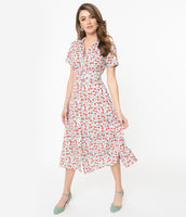 Modest Floral Polka Dots Print Vintage Banding Collared Short Sleeves Sleeves Shirt Midi Dress With a Bow(s)