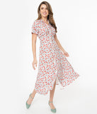 Vintage Style Bows & Red Floral Print Jonie Midi Dress