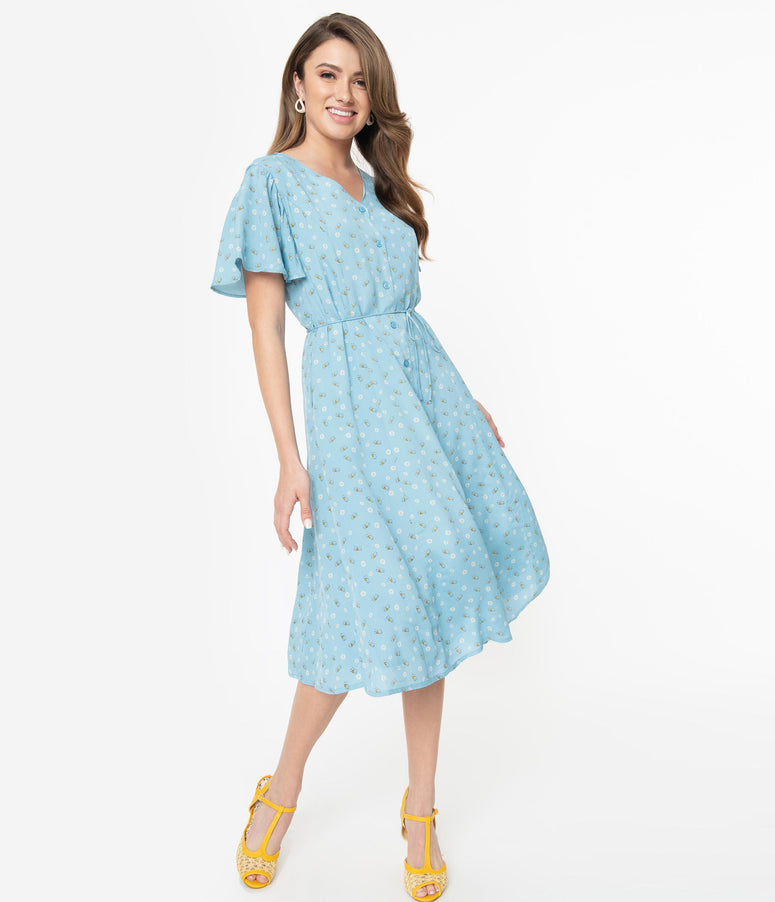 Light Blue Floral Bumble Bee Print Dixie Midi Dress