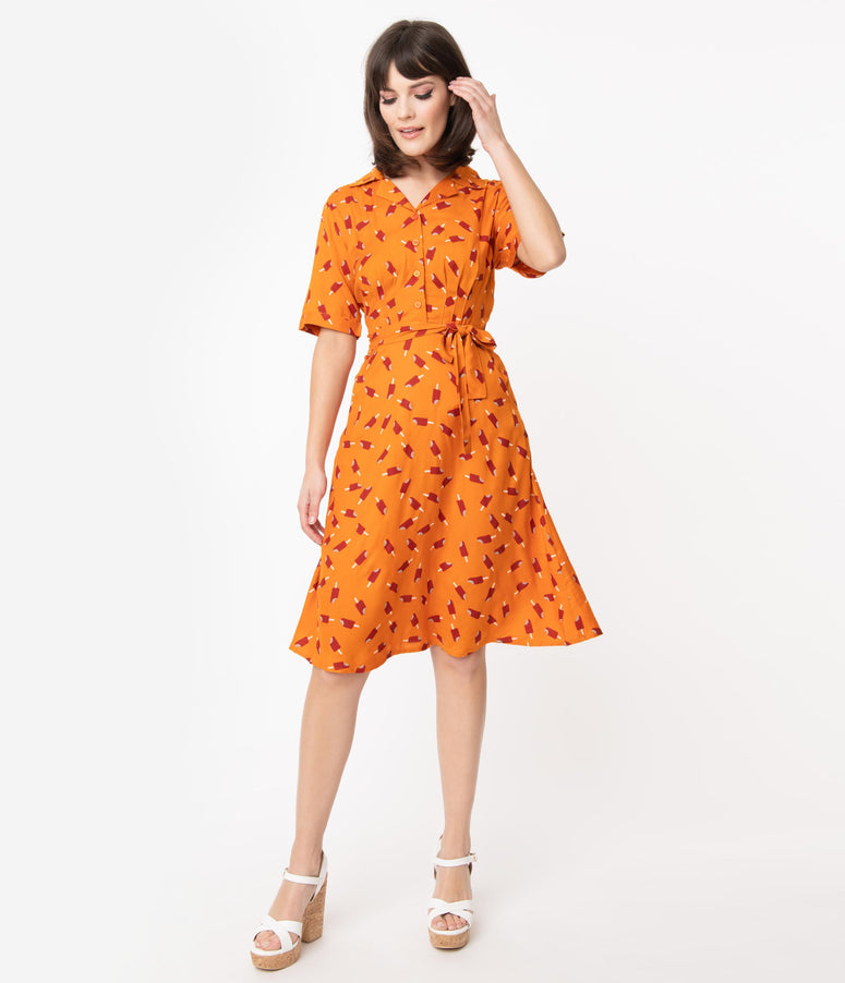 Orange & Red Ice Lolly Print Swing Dress