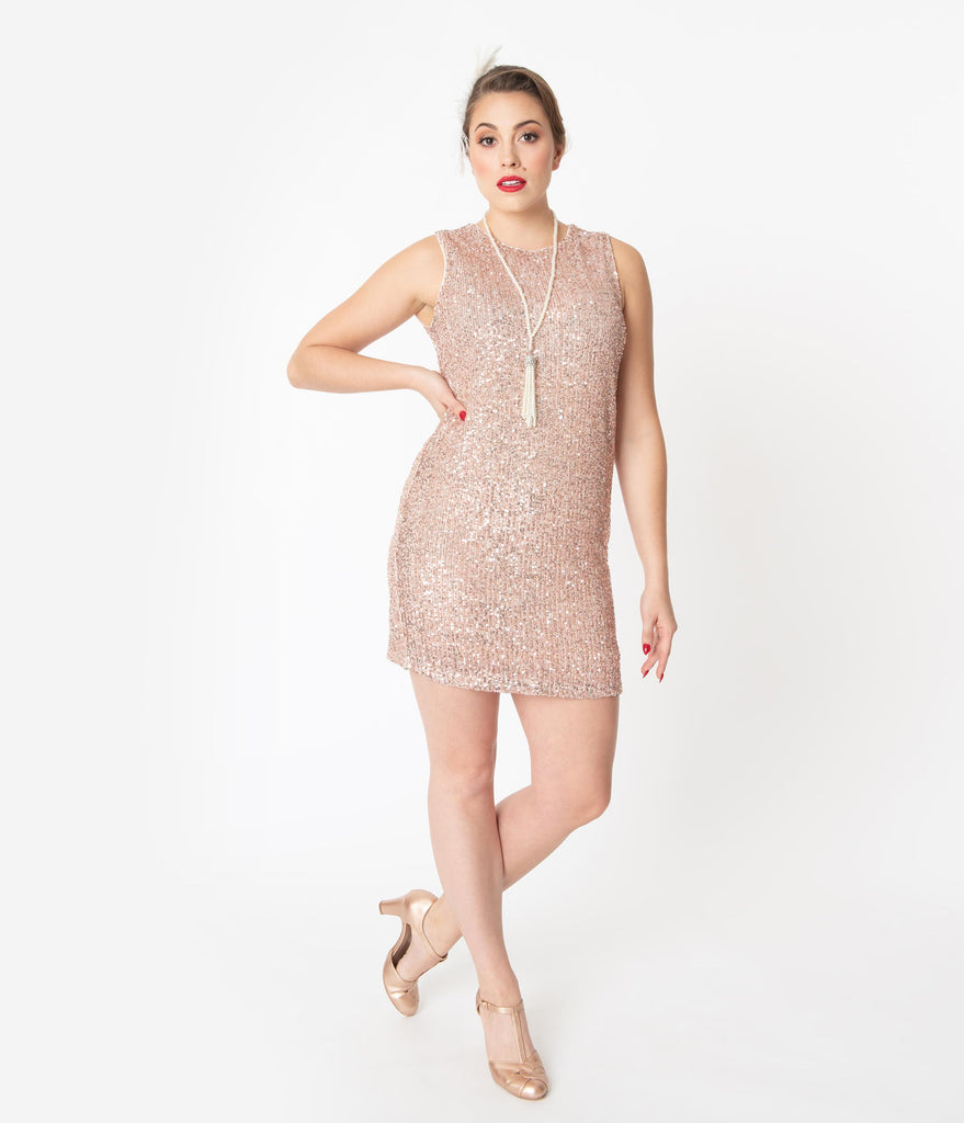 Blush Pink Sequin Sleeveless Shift Dress