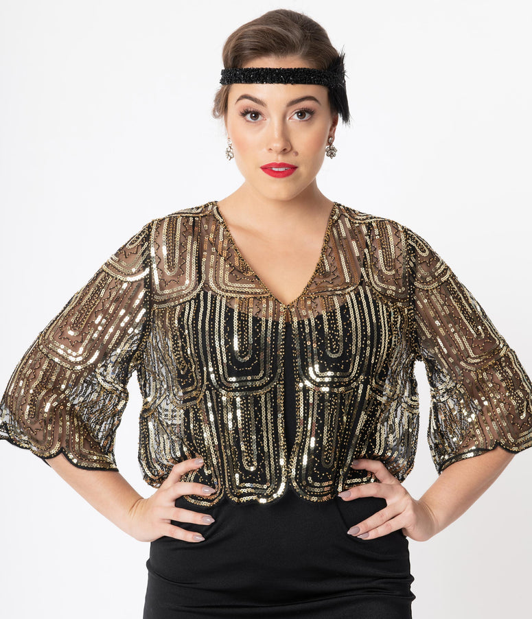 1920s Black & Gold Three Quarter Sleeve Sequin Bolero