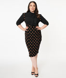 Unique Vintage Plus Size Black & Orange Pumpkin Patch Fontaine Suspender Pencil Skirt
